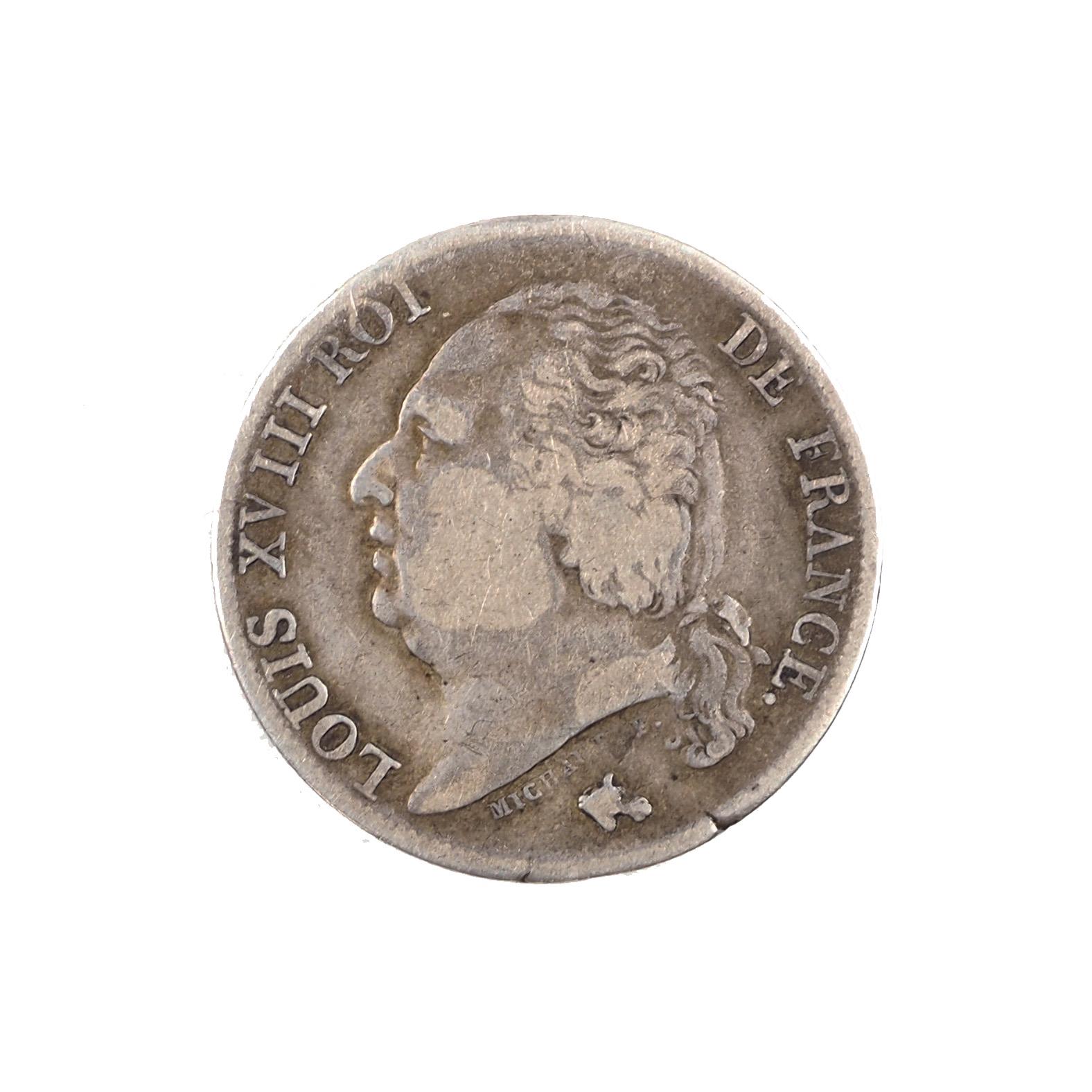 Louis XVIII (1815-1824), 1 Franc 1824 I Limoges, TTB, Le Franc 206. RARE !!!