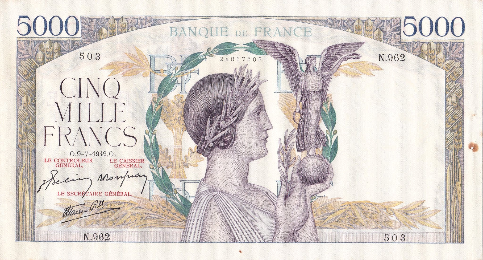 France, 5000 Francs Victoire, 9.7.1942, SPL, Fayette 46
