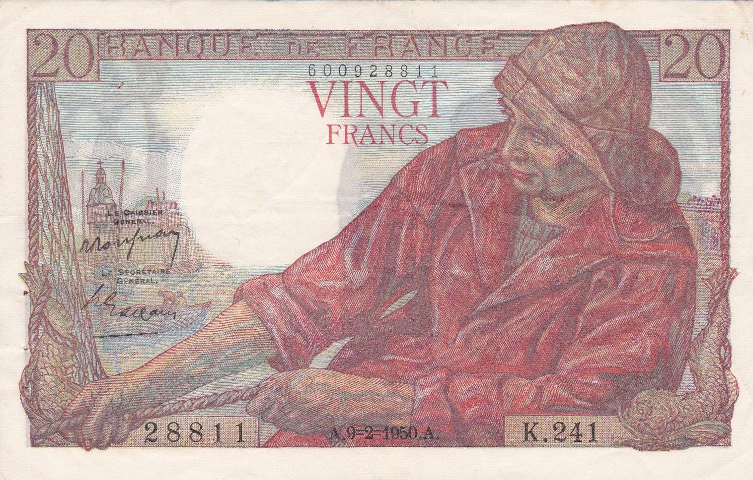 France, 20 Francs Pêcheur, 9.2.1950, SUP, Fayette 13