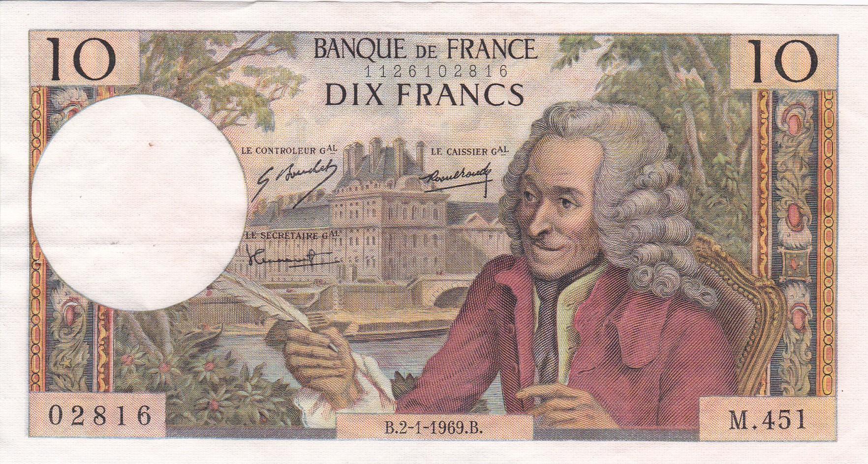 France, 10 Francs Voltaire, 2.1.1969, SUP, Fayette 62