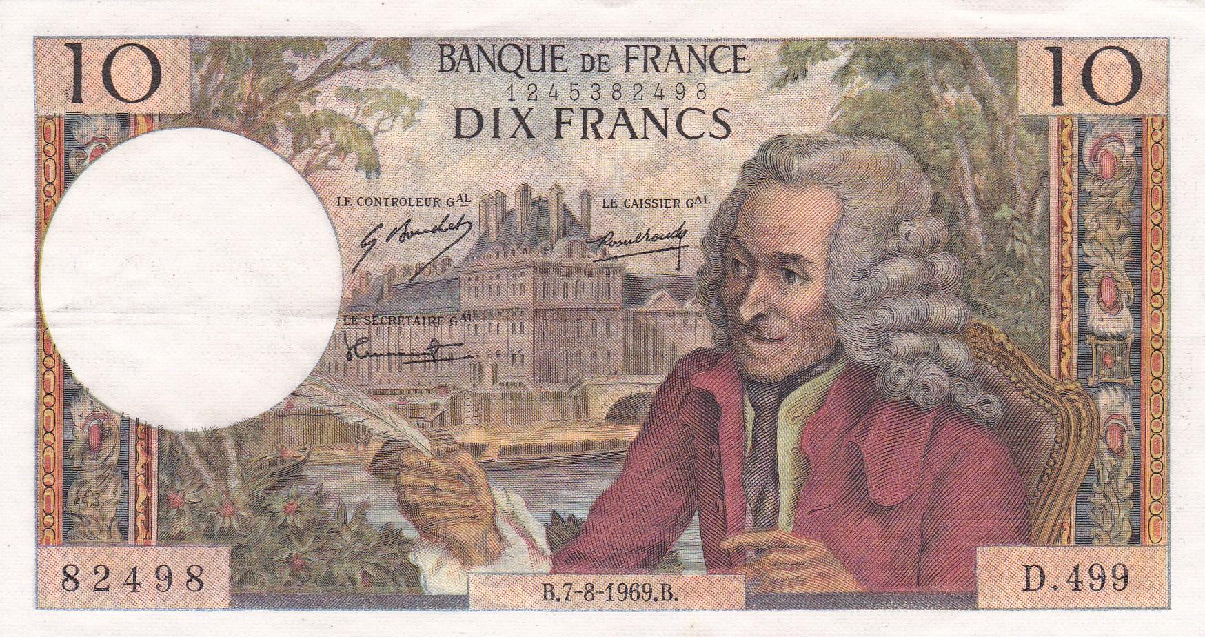 France, 10 Francs Voltaire, 7.8.1969, TTB+, Fayette 62