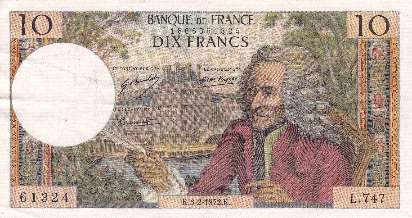 France, 10 Francs Voltaire, 3.2.1972, TTB+, Fayette 62