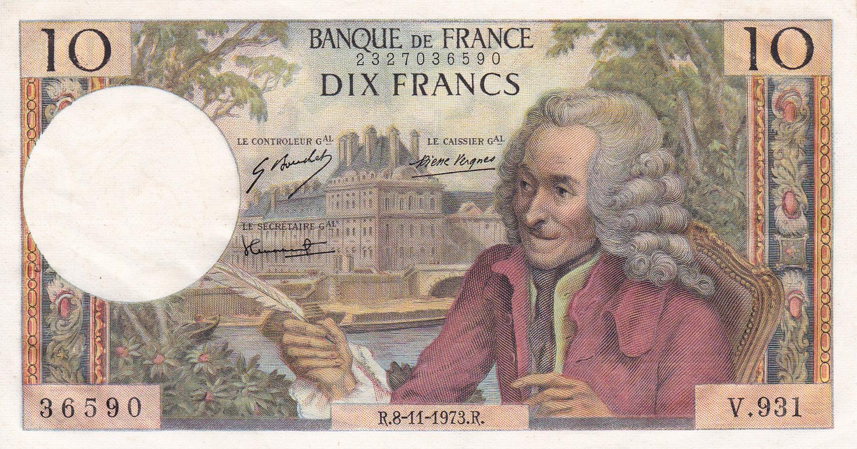 France, 10 Francs Voltaire, 8.11.1973, SPL, Fayette 62