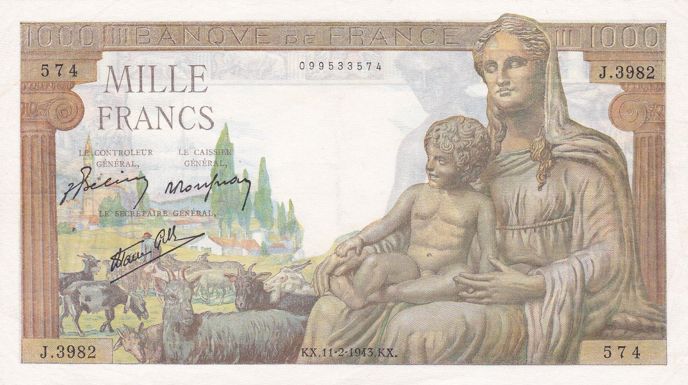 France, 1000 Francs Déesse Déméter, 11.2.1943, SUP, Fayette 40