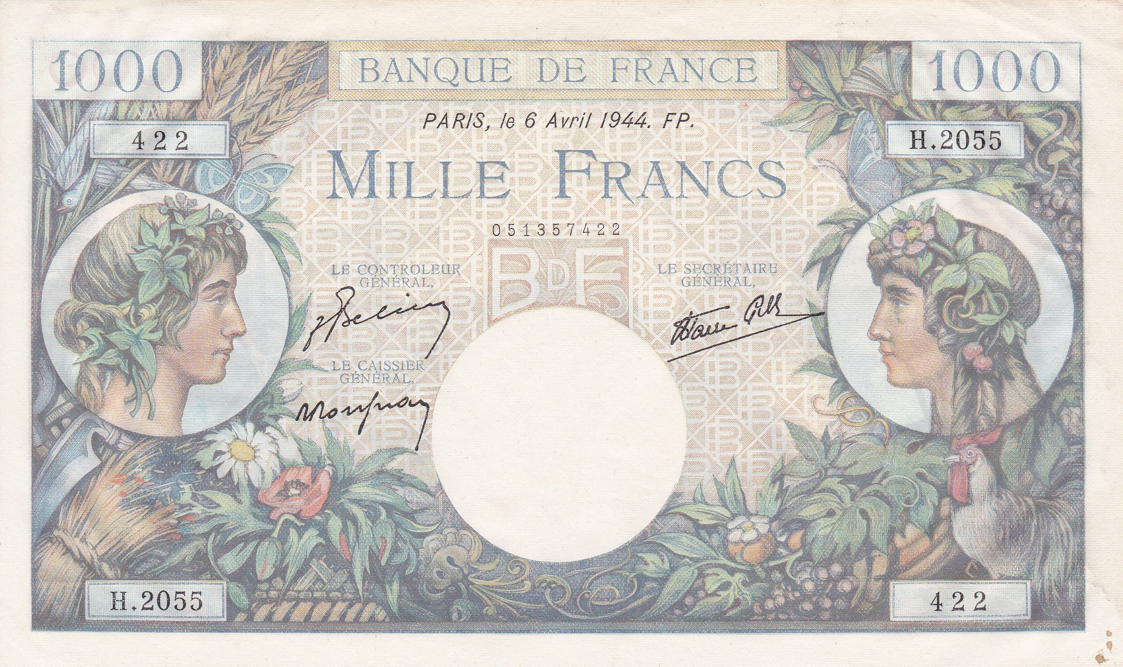 France, 1000 Francs Commerce et Industrie, 6.4.1944, SUP+, Fayette 39