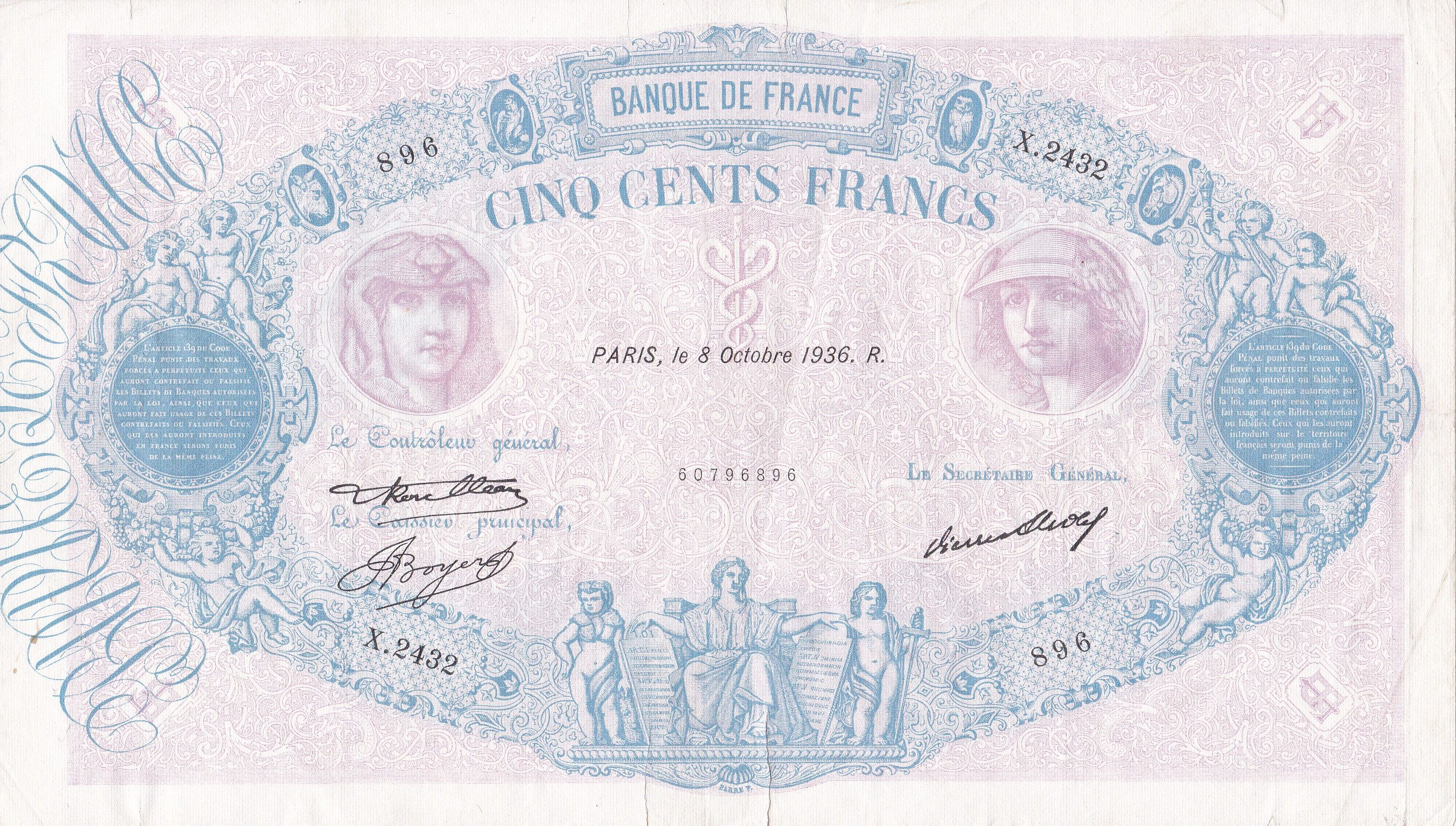 France, 500 Francs Bleu et Rose, 8.10.1936, TB, Fayette 30