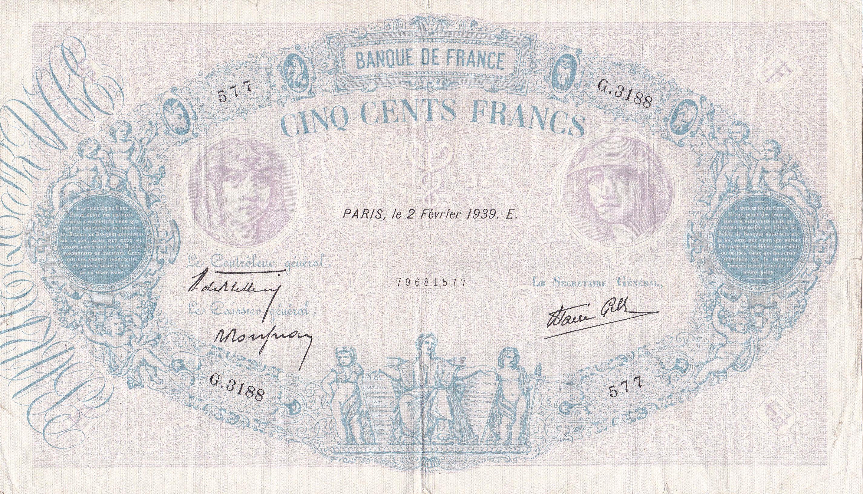 France, 500 Francs Bleu et Rose, 2.2.1939, TB, Fayette 30