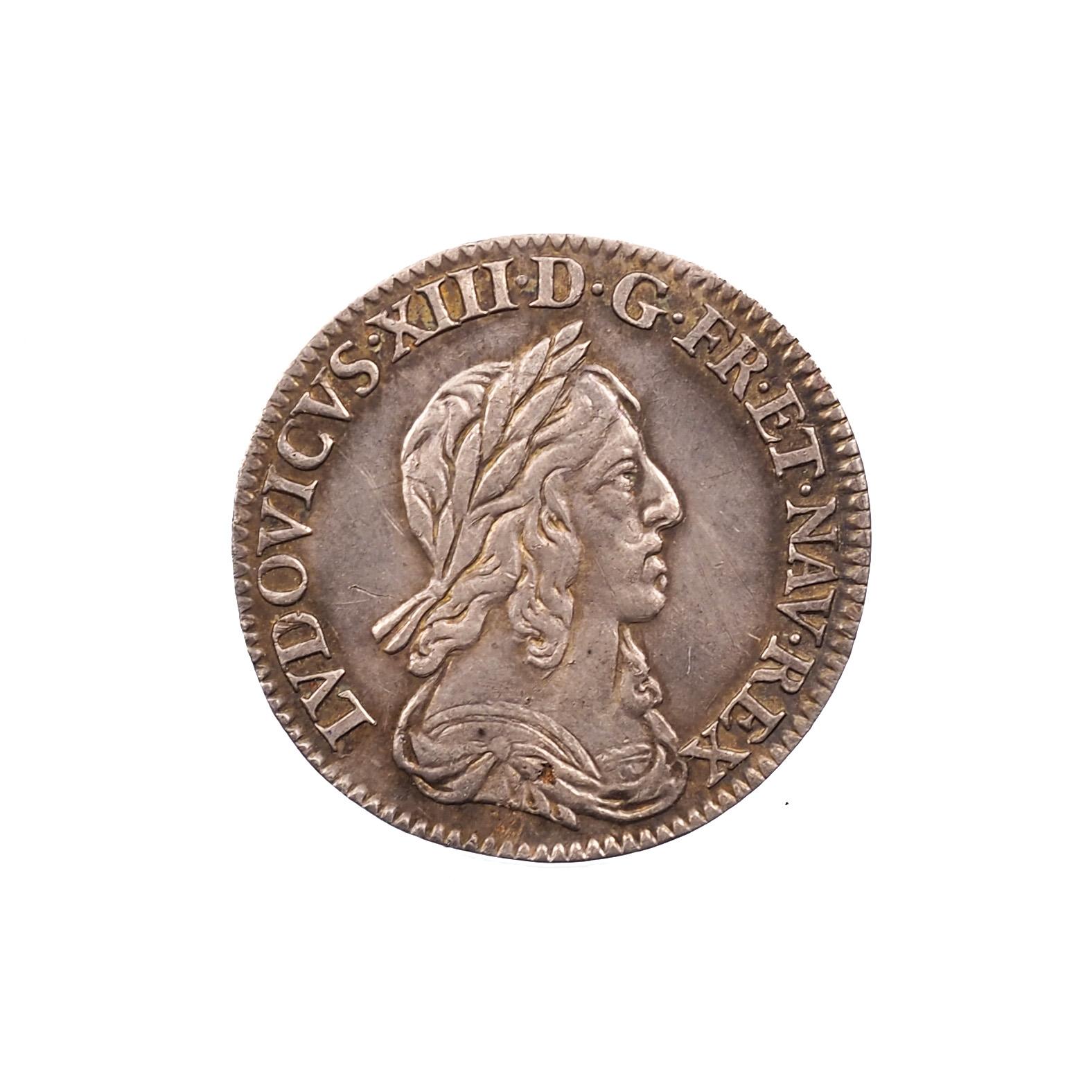 Louis XIII (1610-1643), 1/12e d'écu 1643 A (rose), Argent, SUP, Gad.46, Patine !