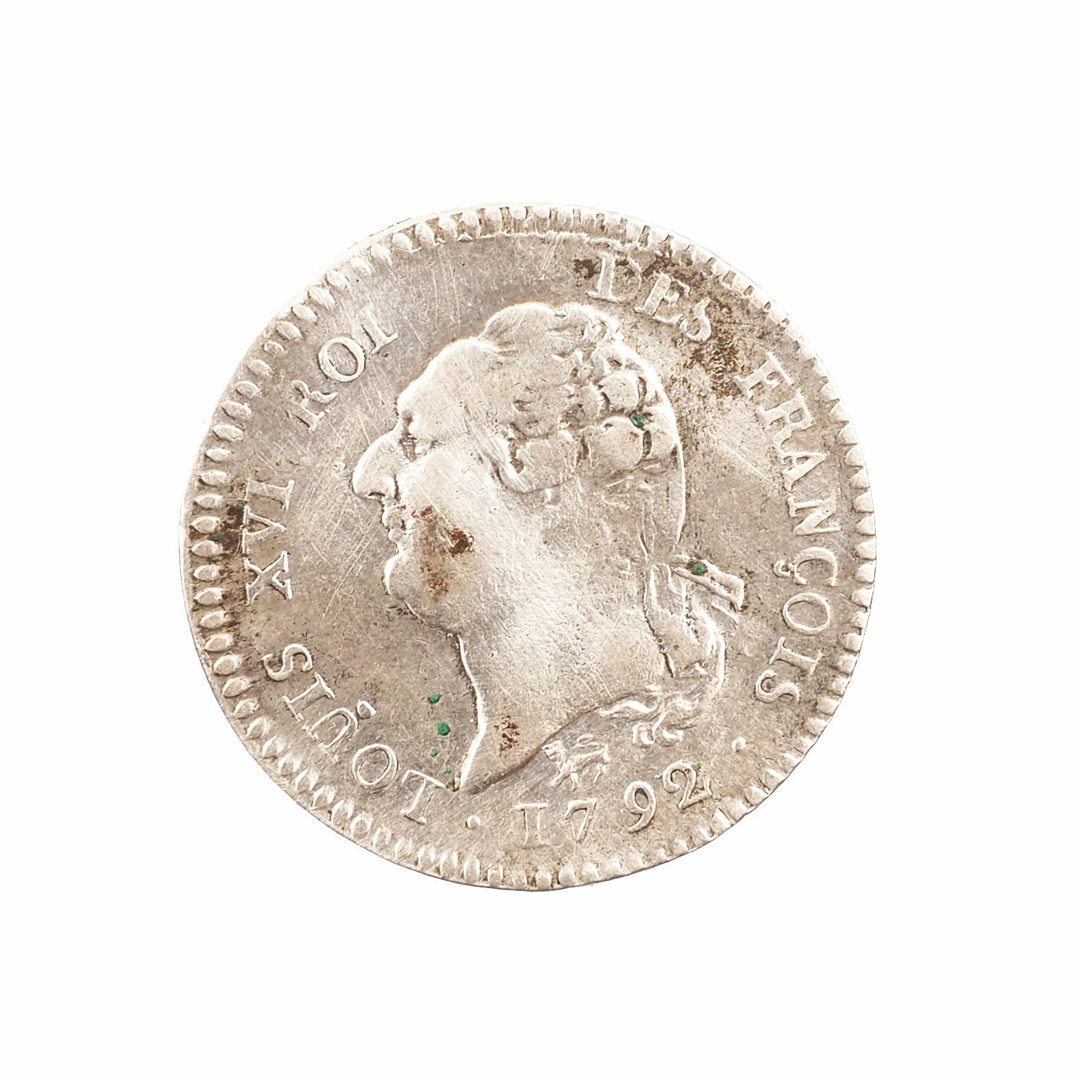 Louis XVI, 15 Sols 1792 A Paris, Argent, TB+, Fautée date 1792/?, Gad.36