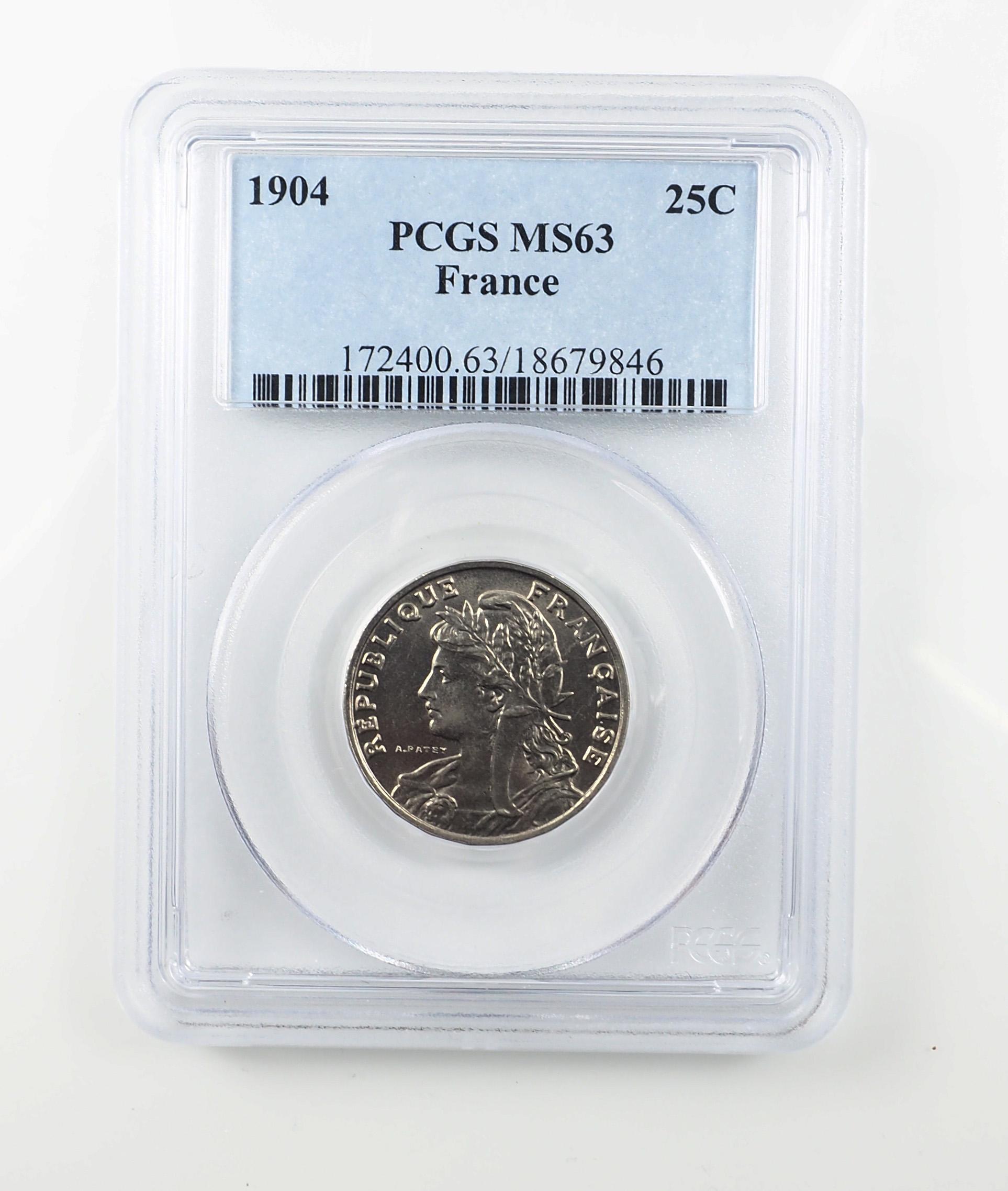 France, 25 Centimes 1904, Patey, Paris, Nickel, SPL, PCGS MS 63, Le Franc 169