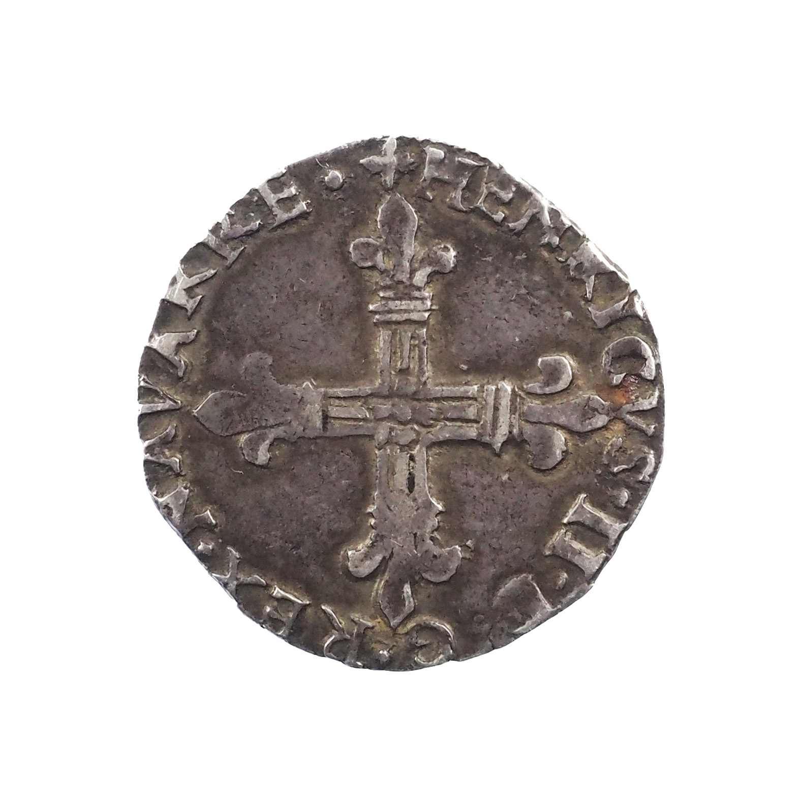 Henri III de Navarre , ¼ d'écu 1585 Saint-Palais, Argent, TTB, PA. 3496var.