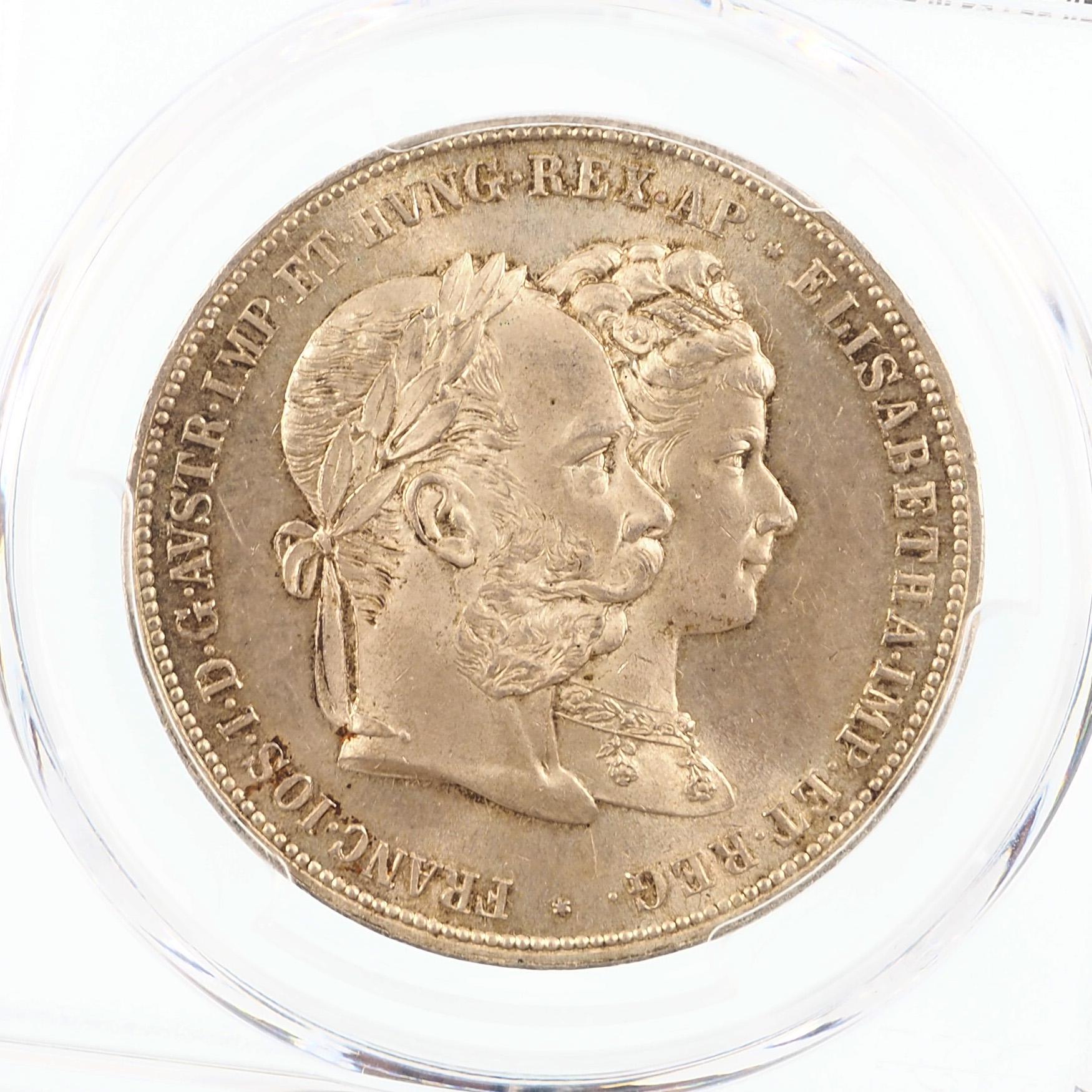Autriche, François-Joseph I, 2 Gulden mariage, 1879, Argent, PCGS MS64, KM X# M5