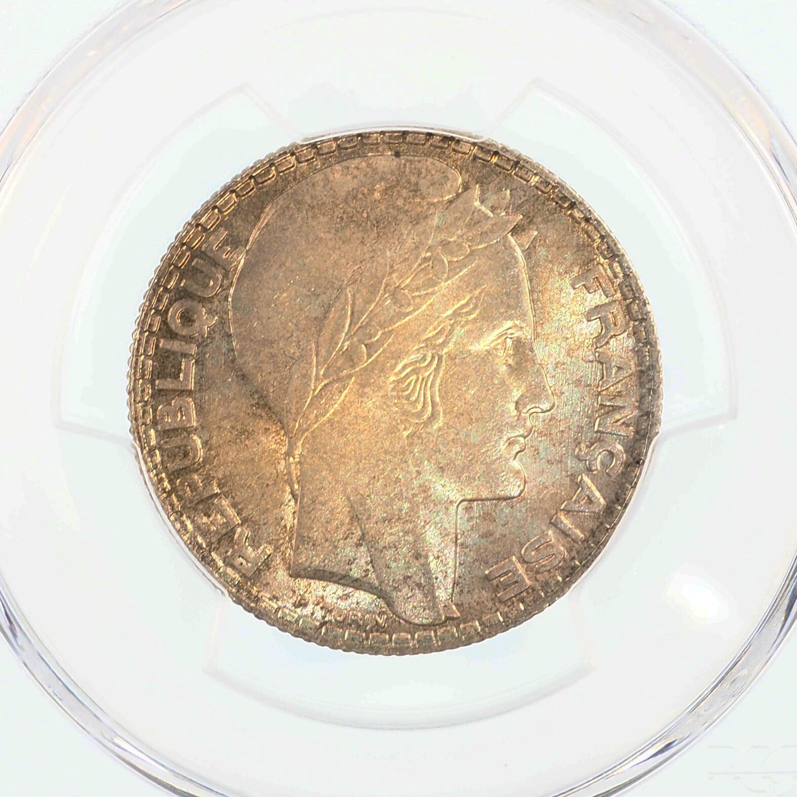 France, 10 Francs 1932, Turin, SPL+, Argent, Gad.801, PCGS MS64