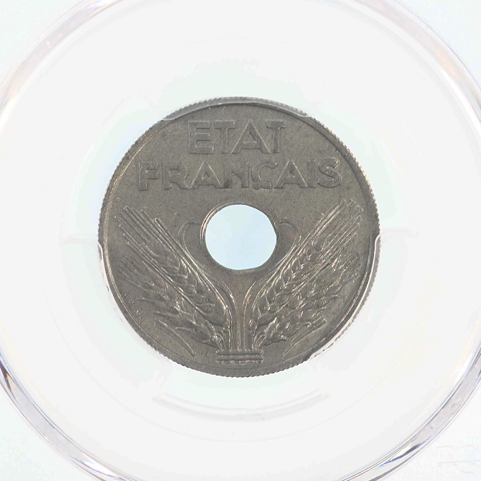 France, 20 centimes 1944, Zinc, SPL, Gad. 321, PCGS MS63