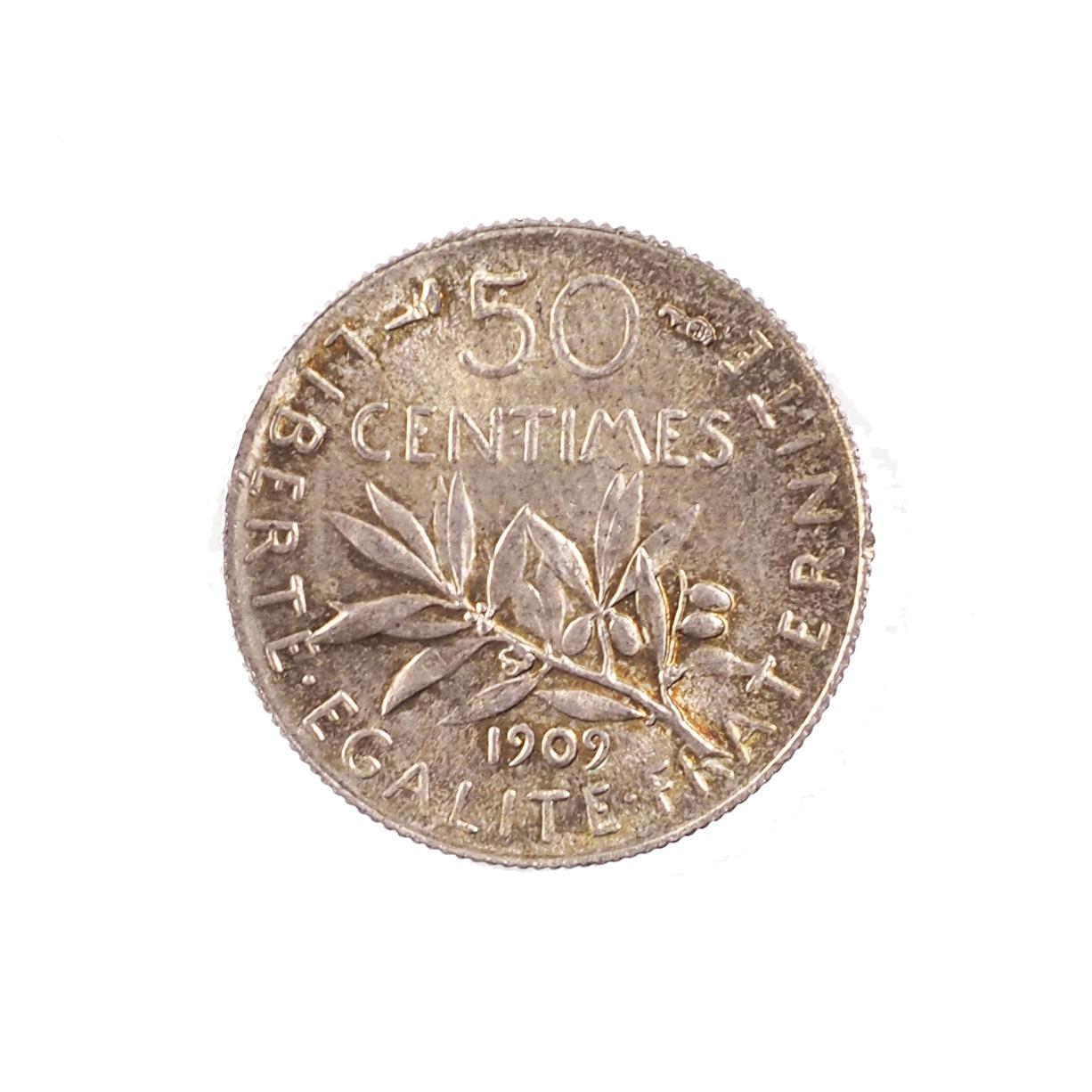 France, 50 centimes 1909, SUP, Argent, Le Franc 190