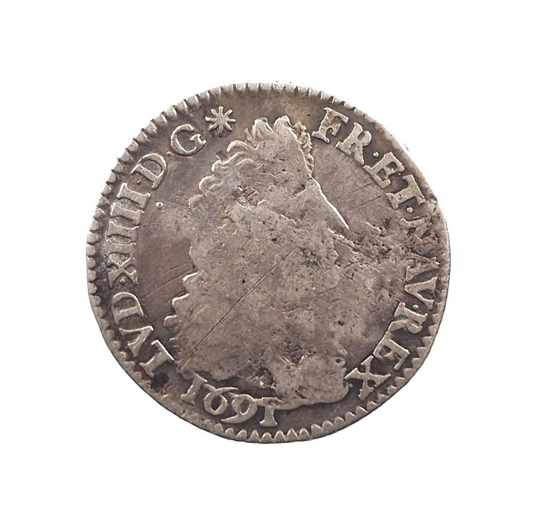 France, Louis XIV, 1/12 d'écu 1691 A, Paris, Argent, TB, Gadoury 118