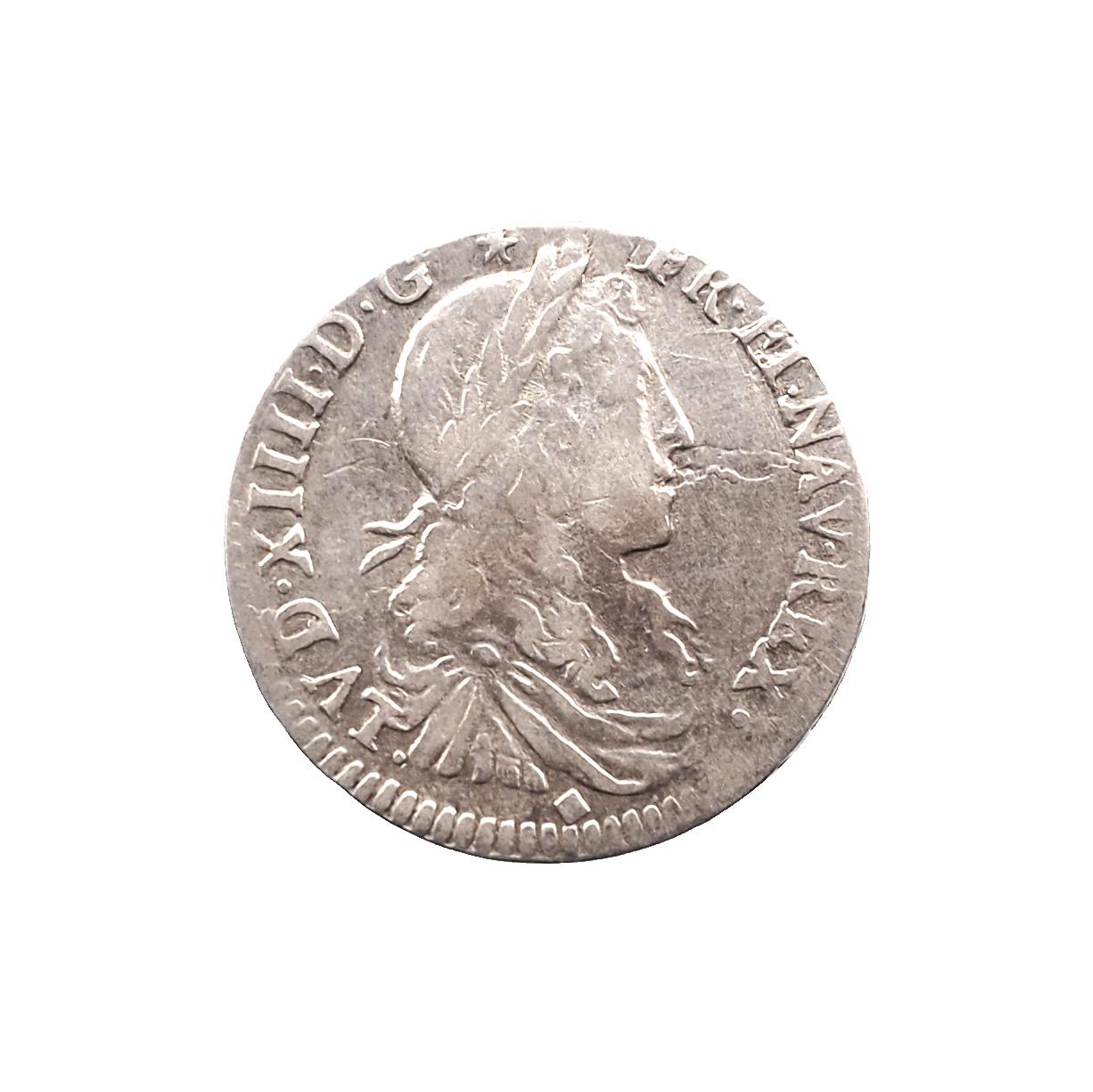 Louis XIV, 1/12 écu 1665/4 D Lyon, TB, Gadoury 115