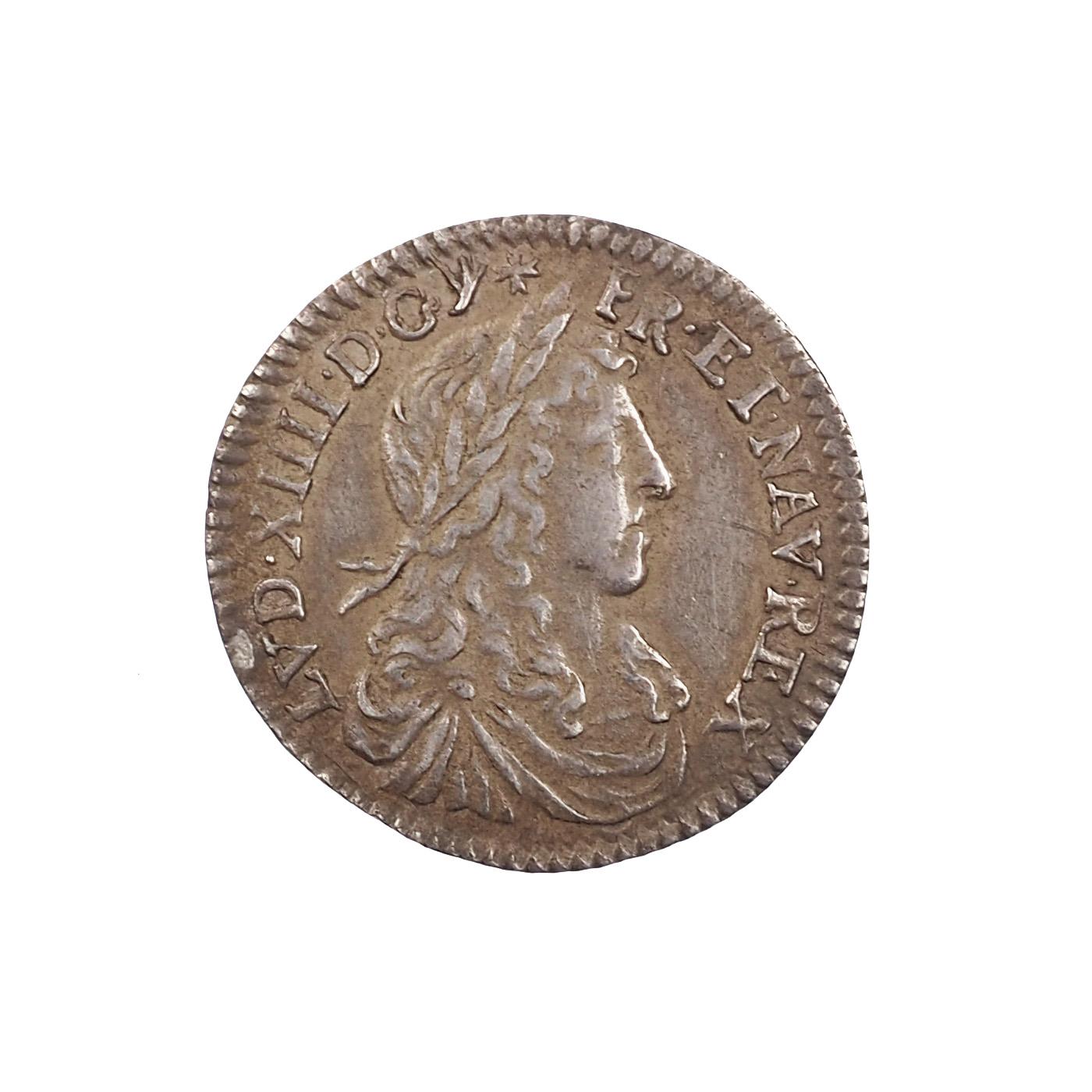 Louis XIV (1643-1715), 1/12 d'écu 1660 Z Grenoble, TTB+, Gad. 116, RARE !